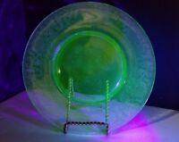 "Vintage Florentine No 2 Hazel Atlas Glass Co 8 1/2"" Salad Plate Uranium Green"
