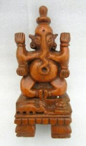 Hindu Lord Ganesha Figurine Statue Vintage Old Rare Unique Hand Carved Wooden