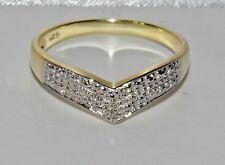 Stunning 9ct Yellow Gold & Silver Diamond Wishbone Eternity Ring size S