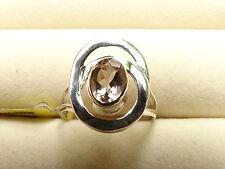 1Ct Natural Marropino Morganite Solitaire Designer 925 S Silver Ring Size L