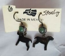 Silver 925 Pampered Puppy Novica Mexico Dog Dangle Earrings Green Gem Sterling