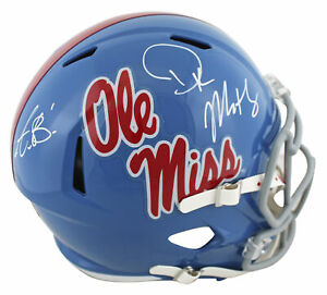 Ole Miss A.J. Brown & DK Metcalf Signed Full Size Speed Rep Helmet BAS Witness