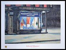 Edward Hopper Drug Store póster son impresiones artísticas con marco de aluminio en negro 60x80cm