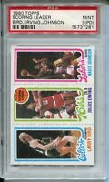 1980 Topps Basketball Larry Bird Magic Johnson Rookie Card PSA MINT 9 PD Dr J