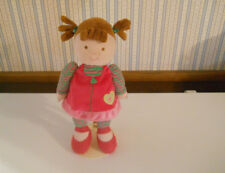 """Carters Just One Year plush 12"""" DOLL brown hair eyes pink green stripes #99975"""
