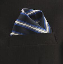 "Pocket Square Mens Hanky Blue Grey White Stripe 10"" Dress Suit Handkerchief New"