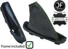 GREEN STITCH LEATHER HANDBRAKE GAITER+PLASTIC FRAME FOR FREELANDER 2 LR2 06-14