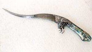 Indo Persian Silver Work Damascus Karoli Dagger Khanjar  elephant face & sheath