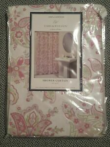 SHOWER CURTAIN Earl & Wilson Pink / green Paisley 100% Cotton Fabric New 72sq