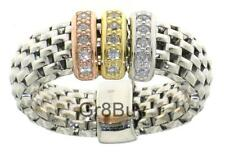 RING:  MESH STRETCH WITH 3 COLOUR CZ DIAM BAND SUITS SIZE 4.5 - 9