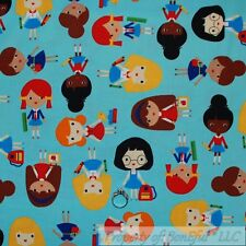 BonEful Fabric Cotton Quilt Blue Red School Teacher Cartoon Kid Girl Dress Scrap