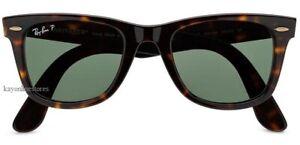BN Ray-Ban Wayfarer Tortoised Polarized Sunglasses RB2140 902/58 50mm  Authentic