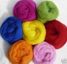 "7 colors Summer Bright Wool roving 1oz ~ 50"" each fun"