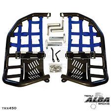 TRX 450R 450ER  Nerf Bars  Pro Peg Heel Guard  Alba Racing    Black Blue nets