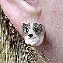 Whippet Gray & White Earrings Post