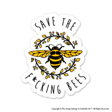 Save The Fcking Bees Animals Sticker Funny Cute Decal Car Vinyl