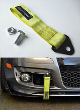 Universal Racing Sport Tow Hook Strap Band High Strength Heavy Duty Loop Yellow.