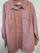 Denim & Co. Stretch Denim Long Sleeve Button Front Shirt  A256332 3X ANT ROSE