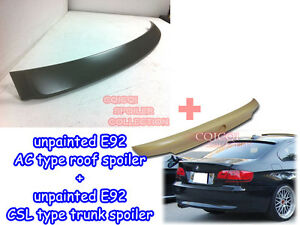 Unpainted BMW 07~13 E92 3 coupe CSL type trunk spoiler + A type roof spoiler ◎