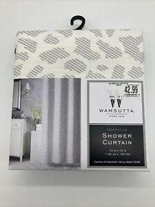 WAMSUTTA Collective 1846 Montville Shower Curtain 72 In x 72 Leopard Gray Cream