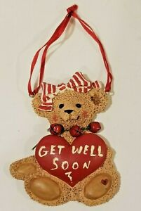 """Teddy Bear With Bow and 3 Red Bells """"Get Well Soon"""" Ornament 5"""""""