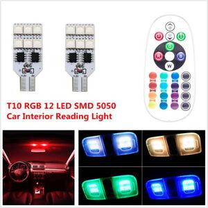 2Pcs Car RGB 12 LED T10 Panel Interior Reading Wedge Dome Light + Remote Control