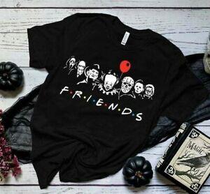 Friends horror film t-shirt Halloween top pennywise freddie jason IT grunge rock