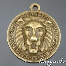 50580 Antique Bronze Alloy Lion Head Round Pendants Charms Crafts Findings 12pcs