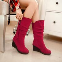 Ladies Slouch Wedge Heel Tassel Decor Pull On Mid Calf Boots Winter Casual Shoes