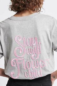 NWT Aje Womens Liberation Flower Child Logo Tee S/Sleeve Crew T-shirt Top L