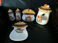 Vintage Merry Mushroom Spoon Rest Napkin Holder Planter Birdfeeder Sears Set