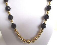 collier bijou vintage perle couleur or et perle noir facette signé PARKLANE *255