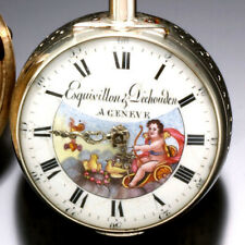 ANTIQUE QUARTER HOUR REPEATER FUSEE POCKET WATCH C1780S | ENAMEL CUPID DIAL
