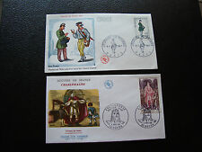 FRANCE  - 2 enveloppes 1966/1967 (charlemagne/journee du timbre) (cy73) french