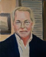 Original Jeffrey Lloyd Barnes 8x10 Portrait Painting Attorney Wood