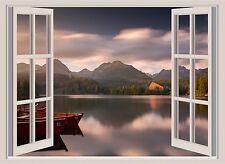 Lake  Mountains Boat Sunset Window View Color Wall Sticker Wall Mural 26x36