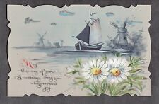 C1916 French plastic card - Windmills/ flowers/ boats
