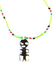 GORGEOUS unique BEADED necklace AFRICA drop pendant cow bone AFRICAN TRIBAL