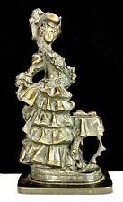 "ANTIQUE BRONZE Victorian Lady Statue Sculpture~11""~hand tooling~beautiful patina"