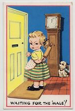 "POSTCARD - artist Dinah, angry girl ""Waiting for the male"" clock dog rolling pin"