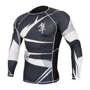 rash guard Hayabusa Metaru 47 Silver White  long sleeve mens MMA bjj