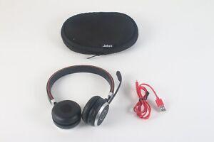 Jabra Evolve 65 HSC018W Stereo Wireless Bluetooth Headset W/ USB Cord and Case