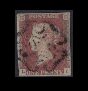 GB stamps - 1841 1d penny red sg7 black MC - LI nice margins - penny black plate