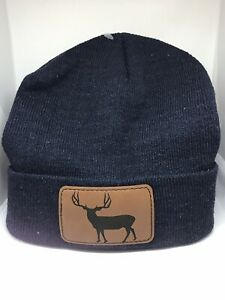 Mule Deer Brown Leather Patch Knit Hat Stocking Cap Deer Hunting Navy blue Hat