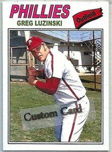 GREG LUZINSKI PHILADELPHIA PHILLIES 1977 STYLE CUSTOM MADE BASEBALL CARD BLANK