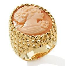 AMEDEO 25mm Cameo Goldtone Chain Design Ring Size 6