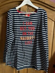 JOULES WOMENS HARBOUR CHRISTMAS FESTIVE TOP - NAUGHTY LIST - SIZE 16