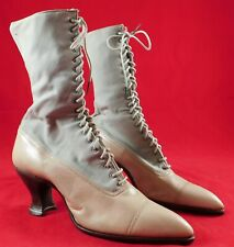 Unworn Edwardian Gray Wool Tan Leather High Top Lace-up Boots & Shoe Box Vtg