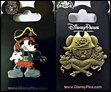 Disney Parks 2 Pin Lot MICKEY Pirate Caribbean Hook + Pirate's Life For Me
