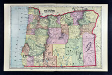 1909 George Cram Map - Oregon - Salem Eugene Portland Astoria Klamath Falls - OR